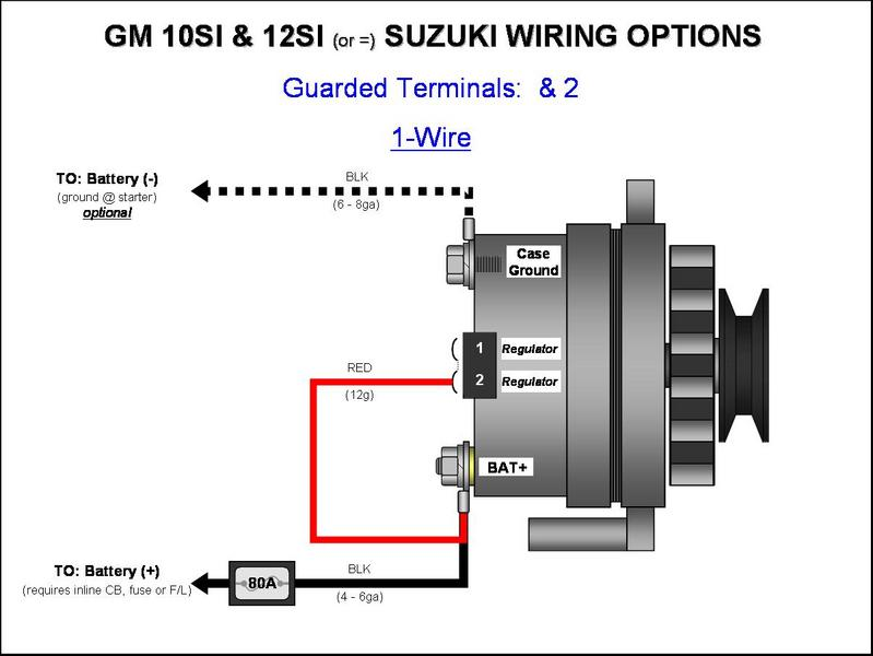 GM 10SI12SI    Alternator    Wiring   1   Wire      GM