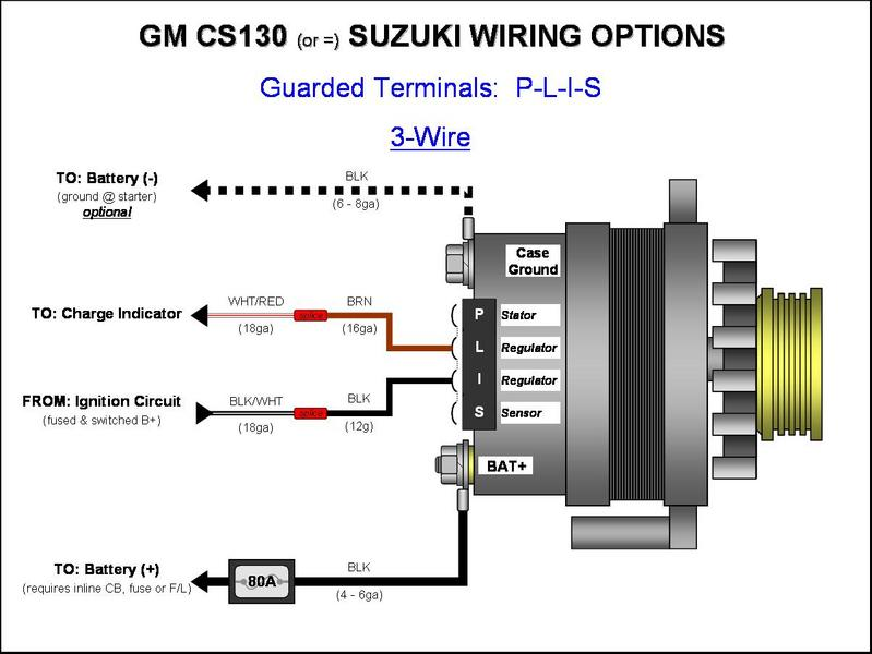U00bb Gm Cs130  Cs144 Alternator Wiring -  Plis  3-wire - Gm Alternator Diagrams  Cs144
